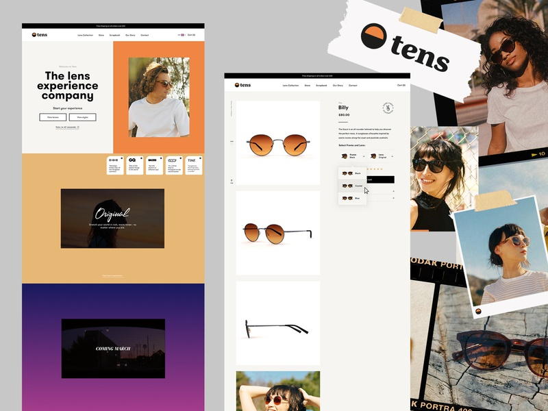 Tens Sunglasses   Shopify Store store brand shopify sunglasses layout web clean minimal homepage ux ui