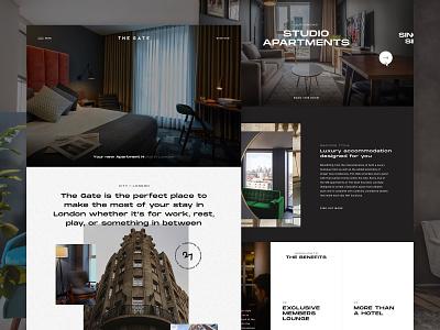 The Gate London website design web website hotel apartment london clean minimal homepage ux ui