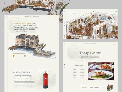 Trafalgar Tavern animation responsive ui ux minimal layout website illustration clean homepage
