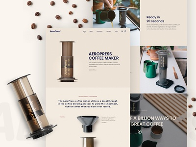 Aeropress Coffee Maker shopify barista artisan coffee machine web coffee beans coffee aeropress homepage ux web design website