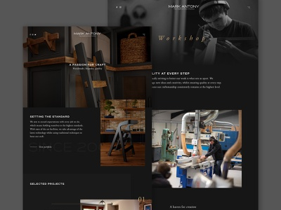 Mark Antony   Home & Workshop carpenter website joinery about page layout web clean minimal homepage ux ui