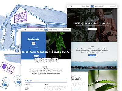 Rise Cannabis 🌱 rise cannabis website cannabis branding marijuana cannabis clean minimal homepage ux ui