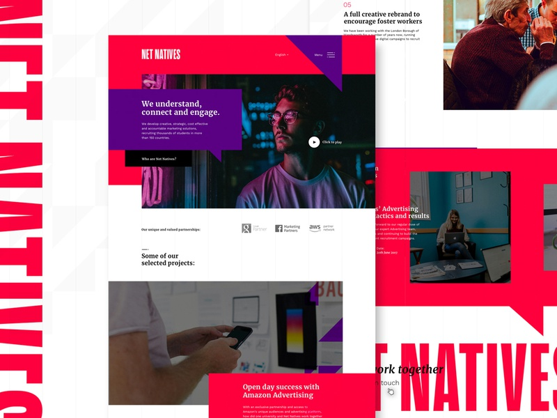 Net Natives web design agency web  design agency site white space clean website web clean minimal homepage ux ui