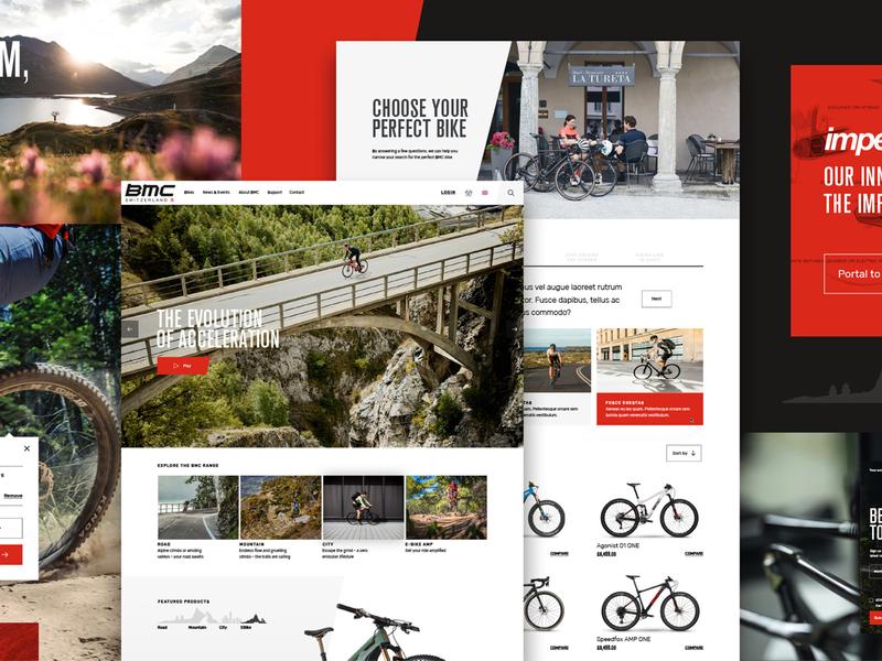 BMC Bikes website design website cycling mountain bike ride cycle bike website road cycling bmc bikes minimal homepage ux ui