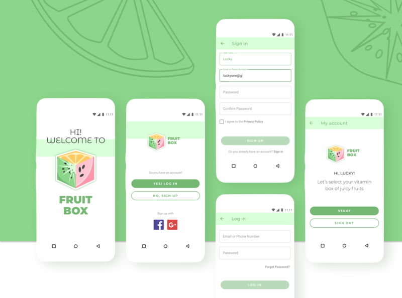 Sign in / Sign up in to FRUIT BOX app app design welcome page fruit illustration fruits sign in sign up log in authorization authentication android app figma design ui inspiration design