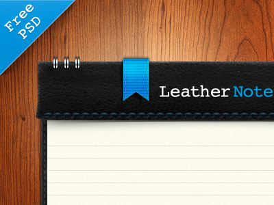 Leather Notebook PSD Freebie paper ui notebook psd freebie interface skeuomorphism ux leather realistic shadow photoshop