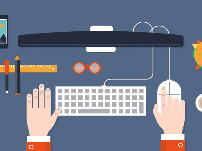 Desk vector flat 2d hand glasses desk