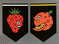 Fruit Felt Banners vectorart craft illustration strawberry orange banners felt