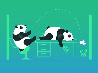 Non Cloud Training Pandas cubicle lazy illustration bamboo cloud pandas