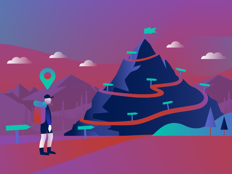 Building Learning Paths goals outdoor hiker mountain illustration path learning