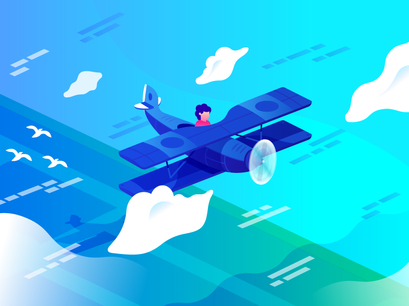 Just Plane Art vector art illustration concepts cloud app google plane