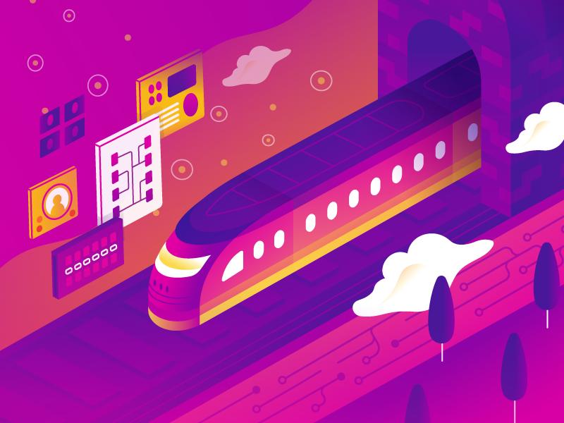 Cloud TRAINing art vector illustration it cloud terraform applications infrastructure train