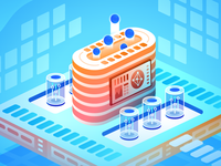 DevOps Land isometric art vector illustration tech