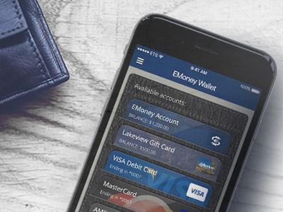 Skeuomorphic wallet in the EMoney App gift card mockup credit cards wallet mobile app ios app skeuomorphism