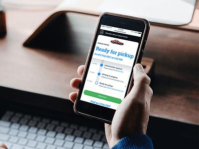 ServiceMate Mockup timeline web design responsive iphone notification maintenance status dealership service app mockup ui