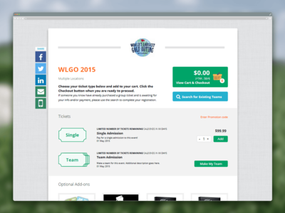 WLGO Event Ticketing Page indesign webpage checkout tickets ticketing golf event mockup ui