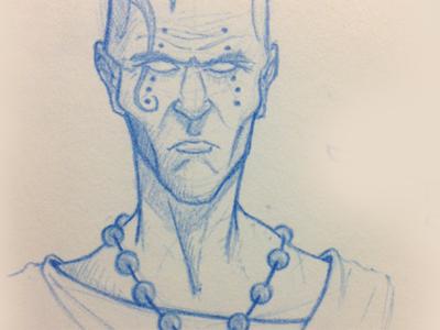 Monk Sketch sketch blue pencil first dribbble