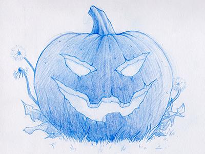 Halloween 2013 halloween blue pencil sketch