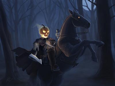 Halloween 2020 horror spooky scary moonlight hatchet pumpkin jack o lantern halloween headless horseman ipad digital art art drawing illustration digital painting apple pencil