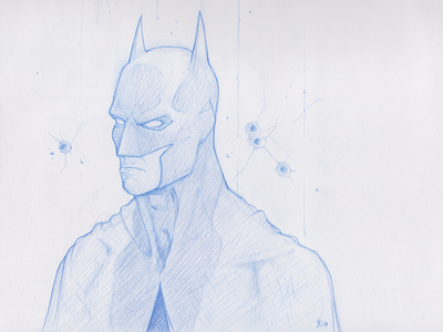 Batman Sketch Finalized batman sketch blue pencil