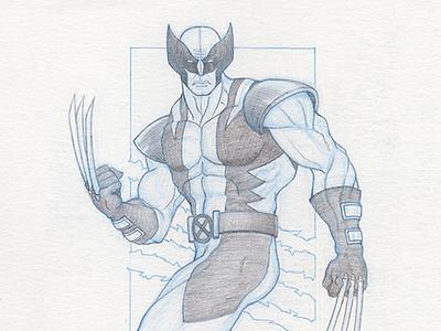 Wolverine - Pinup lead pencil sketch blue pencil wolverine