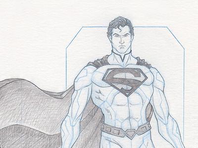 Superman - Pinup superman sketch lead pencil blue pencil