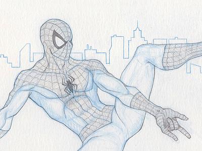 Spider-Man - Pinup spider-man blue pencil sketch lead pencil