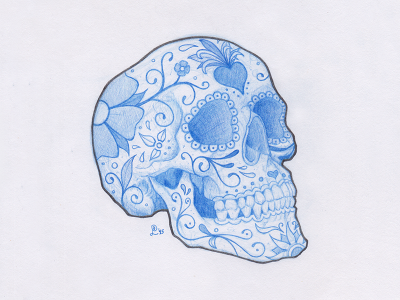 Calavera blue pencil skull calavera