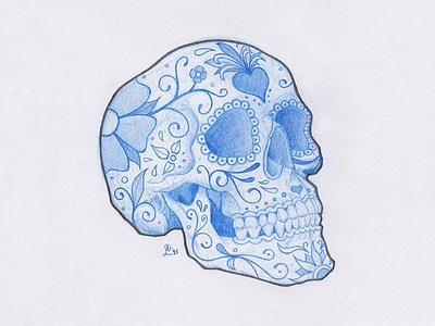 Calavera blue pencil skull calavera
