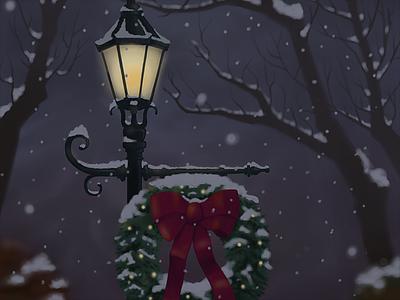 Holiday Wreath applepencil ipad procreate illustration digital painting