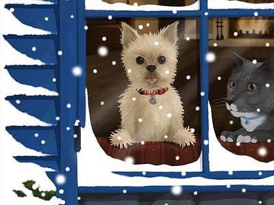 Holidays 2018 snowfall snow pets cat dog holidays iphoneart iphone ipadart ipad procreatepocket procreate digitalart digital illustration sketch drawing art