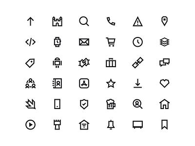 Angular Icons outline identity iconography custom brand identity black and white black angular abstract minimal flat vector branding iconset icon set icons icon