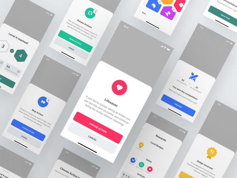 Footprint App — Dialogs items sustainable mobile app mobile minimal level interface green gaming gamification footprint flat design climate change clean notification dialog bottom sheet app design app