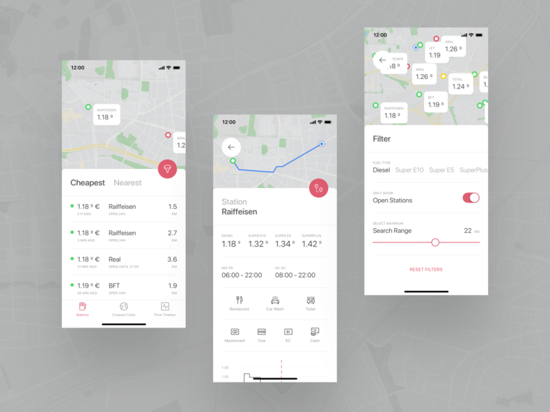 Fuel App | Light Mode icon fuel ux ui typography red mobile minimal map list ios graph gas station gas flat filter design bottom sheet app