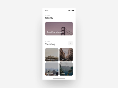 Places App | Prototype ux design video product design photography motion interface sightseeing tourism travel interaction city places minimal motion design prototype animation mobile ux ui app