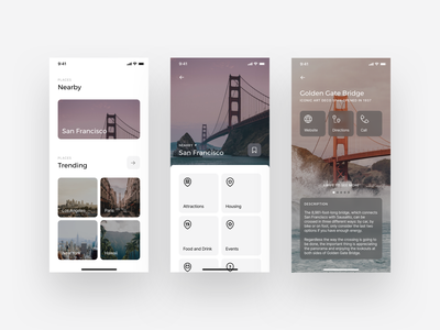 Places App | San Francisco icon app design ios san francisco weekly ux design ux ui travel tourism sightseeing product design places photography mobile minimal interface interaction city app