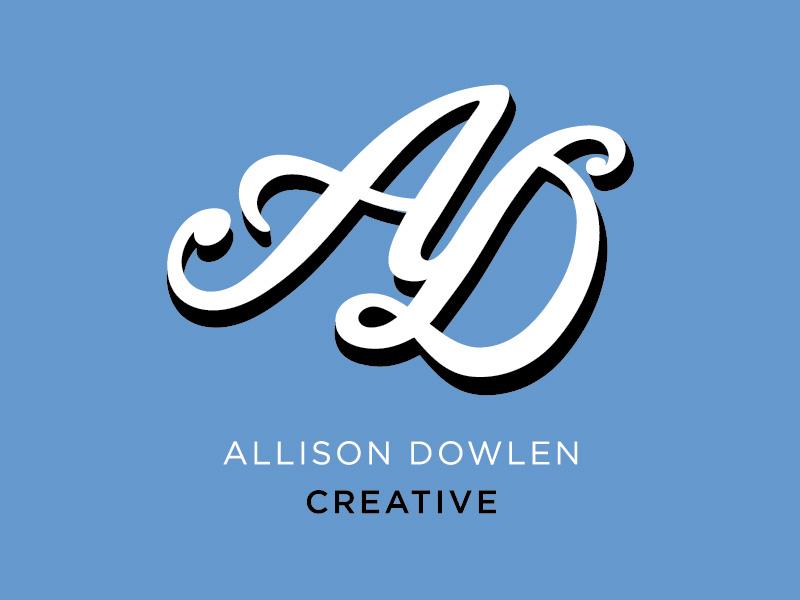 Allison Dowlen Creative - Personal Branding WIP concept monogram lockup illustrator typography branding logo