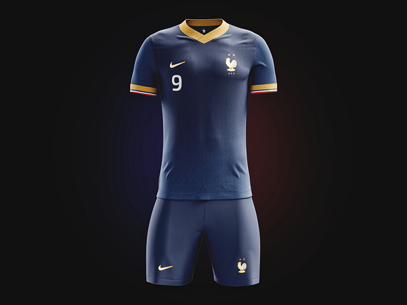French World Champions jersey gold special celebration maillot champions du monde mockup kit jersey football soccer french france