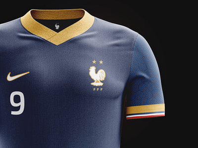 French World Champions jersey closer view special soccer mockup maillot kit jersey gold french france football champions du monde celebration