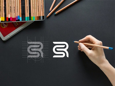 SR brand mark brand luxury lettering branding minimal logo icon design app