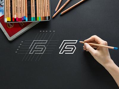 FG monogram logo grid luxury monogram apparel simple typography lineart brandmark lettermark brand branding lettering icon design logo