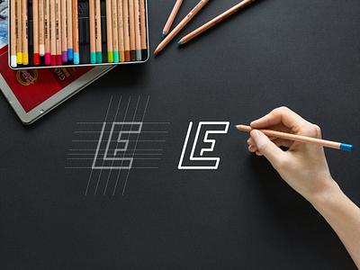 LE monogram logo monogram simple minimalist typography apparel lineart lettermark app brand branding lettering icon design logo