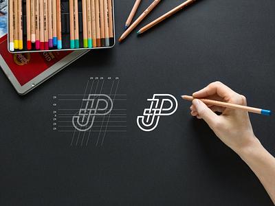JP monogram logo minimlist vector simbol typography lineart lettermark brand branding lettering icon design logo