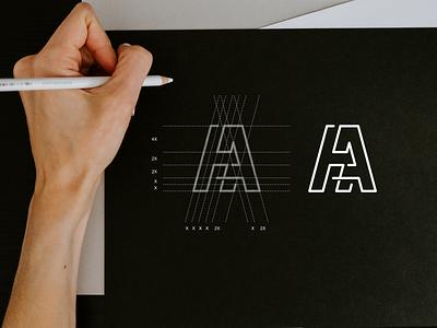 HA monogram logo apparel luxury simbol simple typography lineart lettermark app brand branding lettering icon design logo