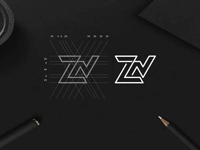 ZN monogram logo monogram apparel luxury simbol simple typography lineart lettermark app brand branding lettering icon logo design