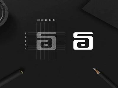 SA monogram logo negativespace monogram luxury simbol simple typography lettermark lineart app branding lettering icon design logo