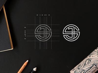 JS monogram logo circle logo monogram simbol simple typography lineart lettermark brand branding lettering icon logo design