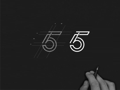 5B monogram logo 5b brand lettermark lettering simbol abstract achitecture lineart monogram logo vector design