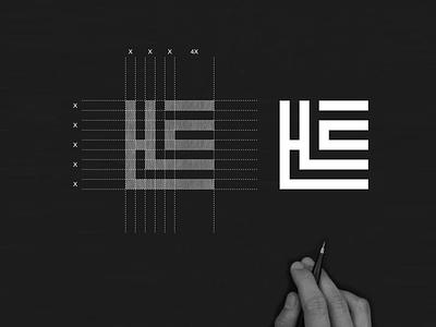 HLE monogram logo concept branding illustration symbol monogram elegant brand icon initial lettering design awesome logo graphic design