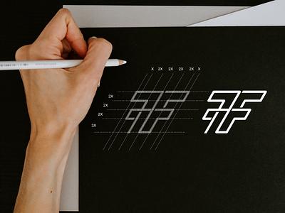 7F monogram logo minimal simple illustrations line art symbol monogram illustration app branding design icon logo lettering graphic design